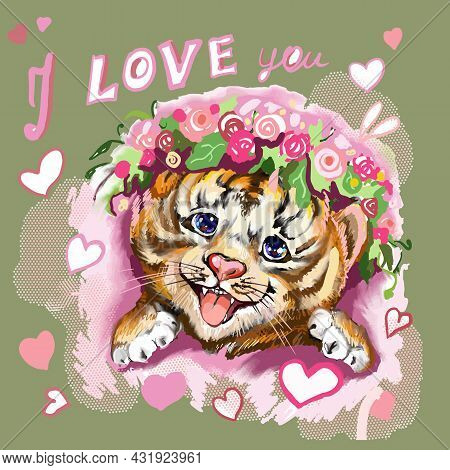 Tiger Baby Head With Hearts And Flowers On Green. Hand-painted Watercolor Style, Black Ink Line Art.