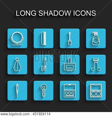 Set Line Syringe, Hair Dryer, Round Makeup Mirror, Eye Shadow Palette, Makeup Powder With, Eyeliner,