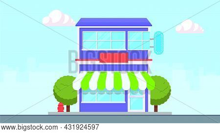 Shop Building Facade With Big Window And Awning. Vector Shop Or Market, Illustration Background. Sto