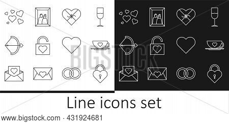 Set Line Castle In The Shape Of Heart, Coffee Cup And, Candy Shaped Box, Lock, Bow Arrow, Heart, And