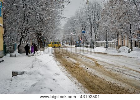The road on the outskirts of the blizzard