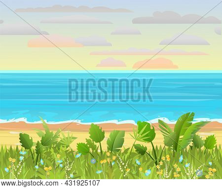 Frontal View Of The Seashore. Blooming Grassy Meadow With Flowers. Waves Along The Surf Line. Yellow