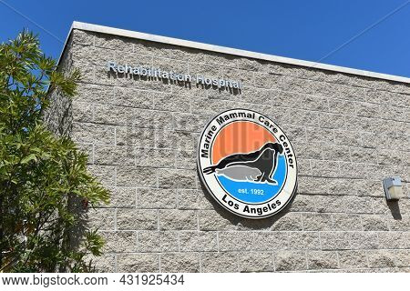 SAN PEDRO, CALIFORNIA - 27 AUG 2021: Sign at the Marine Mammal Care Center on Gaffey Street, a non-profit hospital for seals and sea lions that strand on Los Angeles Beaches.