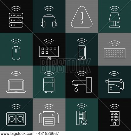 Set Line Smart Home With Wireless, Electric Kettle, Wireless Keyboard, Exclamation Mark In Triangle,