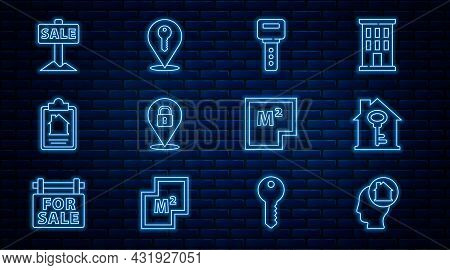 Set Line Man Dreaming About Buying House, House With Key, Location Lock, Contract, Hanging Sign Sale