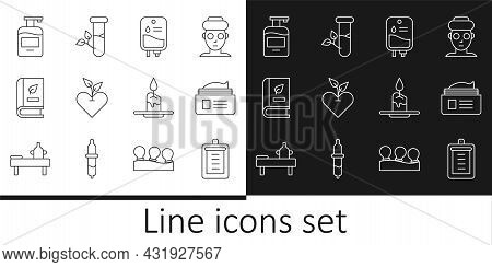 Set Line Clipboard With Checklist, Ointment Cream Tube, Iv Bag, Heart, Medical Book, Bottle Of Liqui
