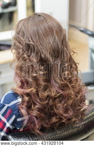 Back View Of The Girl's Long Curly Hair. The Hair Is Brown. Hairstyle.