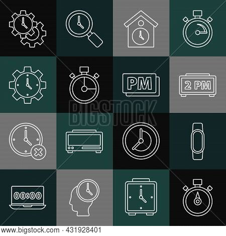 Set Line Stopwatch, Smartwatch, Digital Alarm Clock, Retro Wall, Time Management, And Clock Pm Icon.