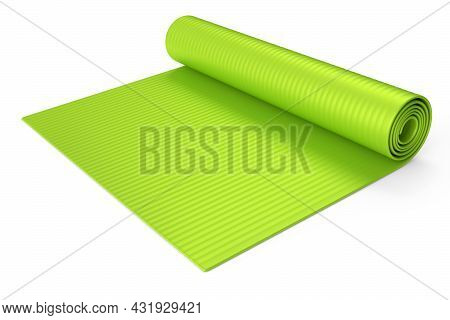 Green Yoga Mat Or Lightweight Foam Camping Bed Roll Pad Isolated On White Background. 3d Rendering O