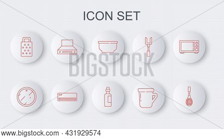 Set Line Kitchen Whisk, Cutting Board, Bowl, Coffee Cup, Grater, Extractor Fan, Air Conditioner And
