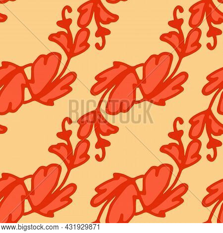 Vector Pattern Of Stylized Plants In Autumn Flowers. Seamless Pattern Of Curved Twigs Red Leaves Arr