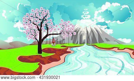 Sakura Near River And Volcano