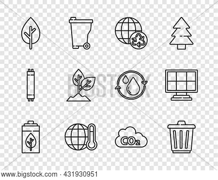 Set Line Eco Nature Leaf And Battery, Trash Can, Planet Earth Recycling, Global Warming, Tree, Plant