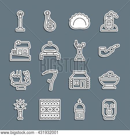 Set Line Thief Mask, Varenyky In Bowl, Smoking Pipe, Dumplings, Bread And Salt, Ukrainian House, Mon