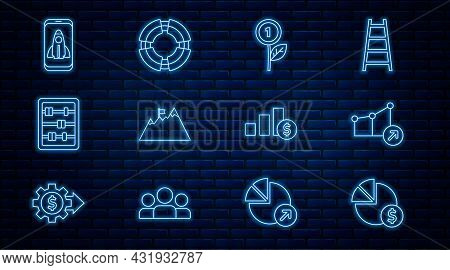 Set Line Pie Chart And Dollar, Financial Growth, Dollar Plant, Mountains With Flag, Abacus, Startup