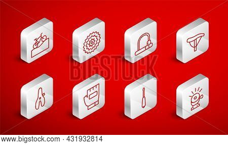 Set Line Bicycle Bell, Cassette, Lock, Seat, Screwdriver, Mountain Bicycle, Gloves And Icon. Vector