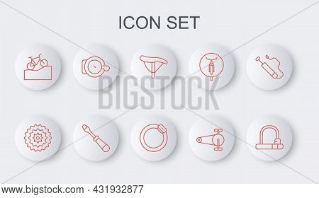 Set Line Bicycle Lock, Cassette, Seat, Chain With Gear, Mountain Bicycle, Bell, Screwdriver And Brak