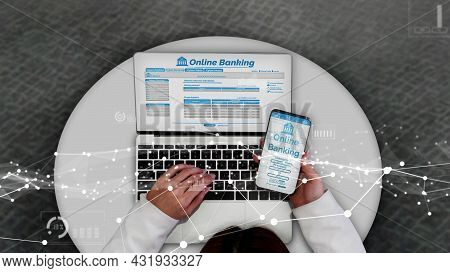 Online Banking For Digital Money Technology Conceptual . Graphic Interface Showing Money Transfer On