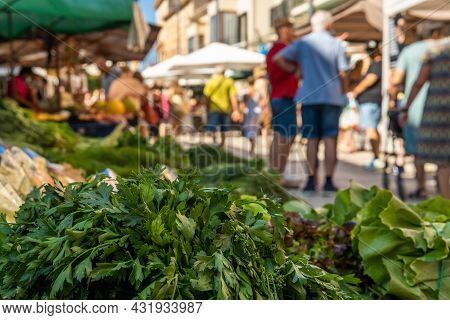 Close-up Of Bunches Of Green Celery In A Street Market On The Island Of Mallorca. In The Background,