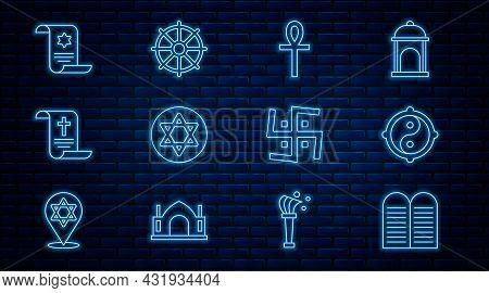 Set Line The Commandments, Yin Yang, Cross Ankh, Star Of David, Decree, Paper, Parchment, Scroll, To
