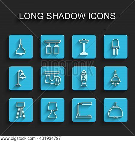Set Line Floor Lamp, Table, Lamp Hanging, Chandelier, Led Track Lights Lamps, And Icon. Vector
