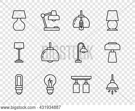 Set Line Led Light Bulb, Chandelier, Light, Table Lamp, Led Track Lights Lamps And Icon. Vector