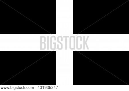 Country Flag Of Cornwall That Represents Cornwall County In The Uk