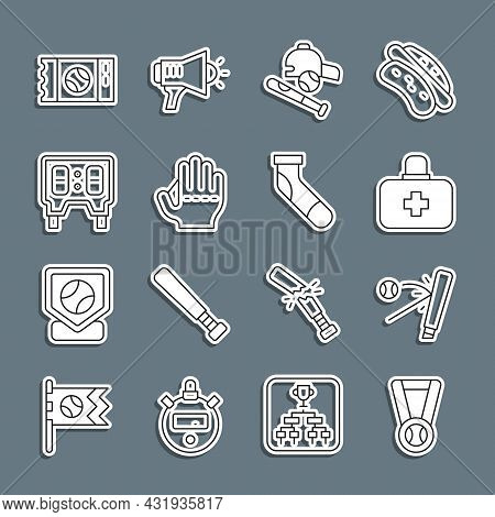 Set Line Medal With Baseball Ball, Baseball Bat, First Aid Kit, Hat, Glove, Mechanical Scoreboard, T