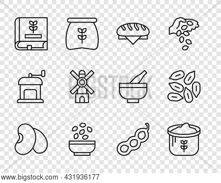 Set Line Beans, Bag Of Flour, Bread Loaf, Seeds In Bowl, Book About Seeds, Windmill, Green Peas And