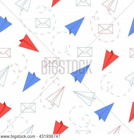 Seamless Pattern With Outline Paper Plane And Postal Envelope On White Background. Vector Illustrati
