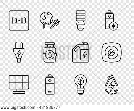 Set Line Solar Energy Panel, Water, Led Light Bulb, Battery, Electrical Outlet, Propane Gas Tank, Li