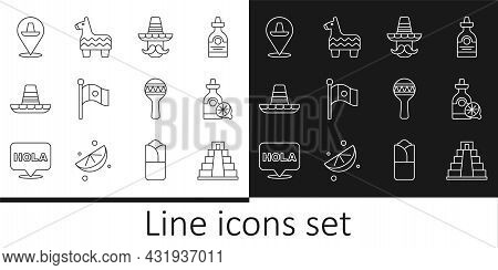 Set Line Chichen Itza In Mayan, Tequila Bottle With Lemon, Mexican Man Sombrero, Mexico Flag, Maraca