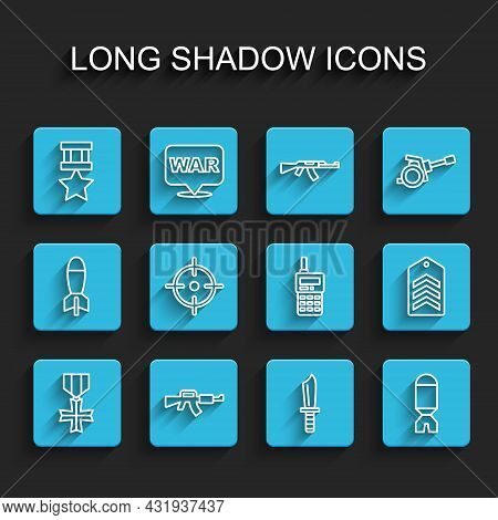 Set Line Military Reward Medal, M16a1 Rifle, Knife, Rocket Launcher, Target Sport, Chevron And Walki