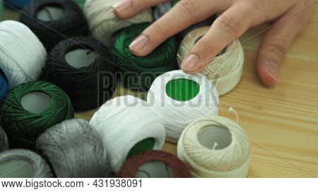Embroider Sewing By Woman Hand. Craft Work And Female Hands.
