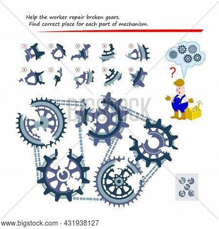 Logic Puzzle Game For Children And Adults. Help The Worker Repair Broken Gears. Find Correct Place F