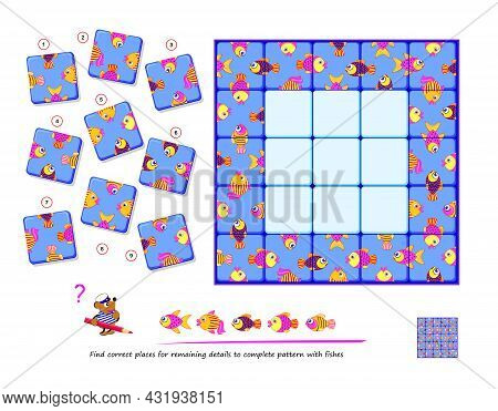 Logic Puzzle Game For Children And Adults. Find Correct Places For Remaining Details To Complete Pat