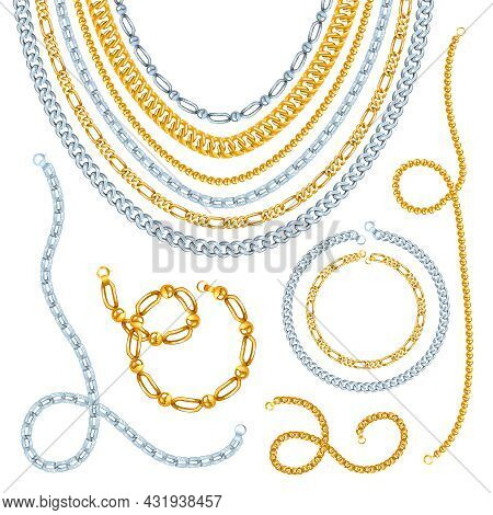Golden And Silver Chains Necklaces And Bracelets With Clasps Realistic Isolated Vector Illustration