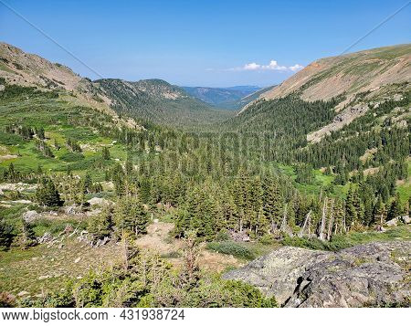 Mountains, Forests And Valleys Of Indian Peaks Wilderness In Arapaho National Forest, Colorado On Cl