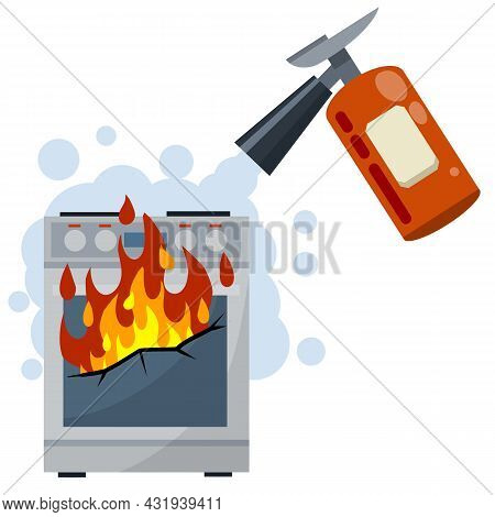 Fire Fighting. Job Of Firefighter. Red Fire Extinguisher. The Danger And Problem With The Cooking. B