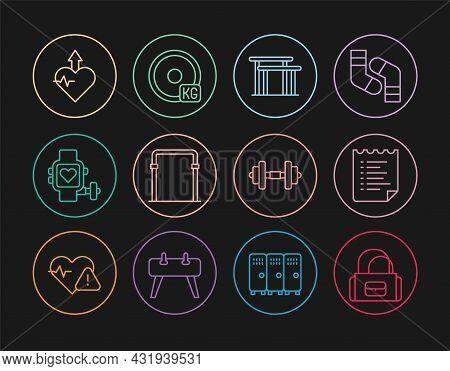 Set Line Sport Bag, Training Program, Uneven Bars, Horizontal, Smart Watch With Heart, Heartbeat Inc