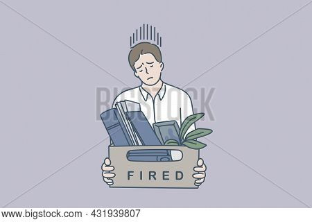 Feeling Sad Of Being Fired Concept. Young Man Worker Standing Feeling Stressed Being Fired Holding B