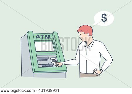 Withdrawing Money On Atm Concept. Young Man Standing Entering Pincode On Atm Machine For Getting Mon