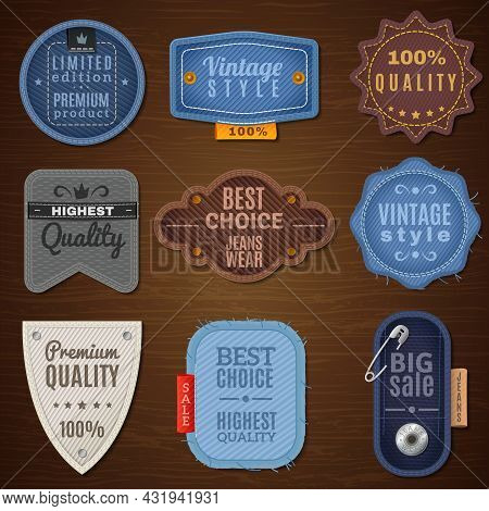Vintage Denim Label Icons On Wood Background With Various Forms Vector Illustration