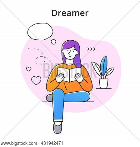 Young Female Character Dreaming While Reading Book. Concept Of Smiling Thoughtful Young Men And Wome