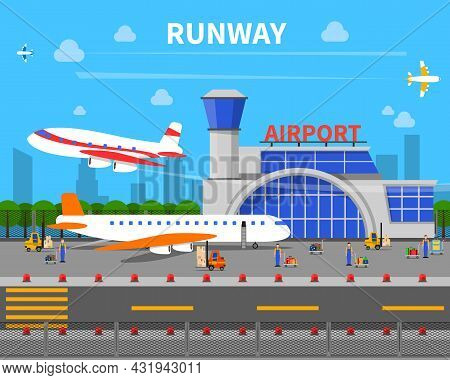 Airport Runway Concept With Planes And Airport Building Flat Vector Illustration