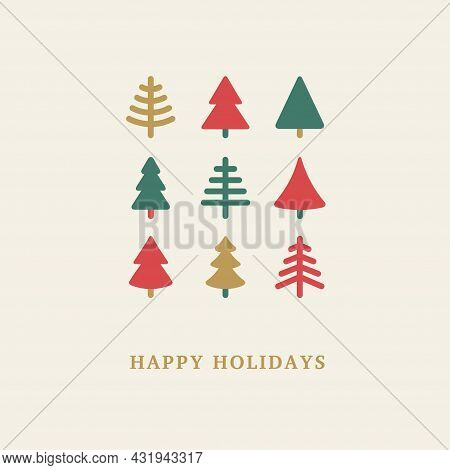 Geometric Christmas Trees Icons Set. Vector Illustration. Merry Xmas And Happy New Year Greeting Car