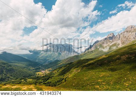 Big Mountains Landscape With Clouds. Picos De Europa Natural Park