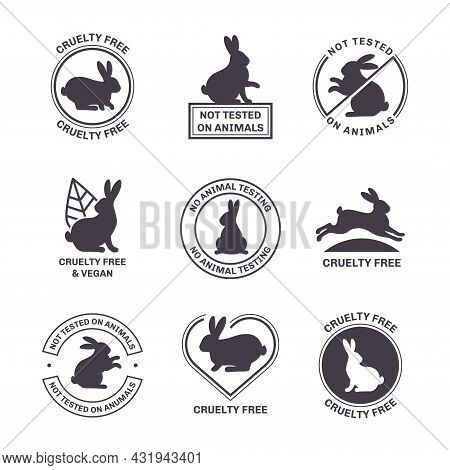 Not Tested On Animals Icons Set Isolated On White Background. Vector Illustration. Cruelty Free Symb