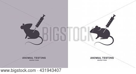 Animal Testing Icon, Vector Illustration. Laboratory Mouse With Syringe, Experimental Injection Of V