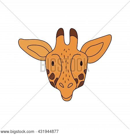 Cartoon Giraffe Head Isolated. Colored Vector Illustration Of A Giraffe Head With A Stroke On A Whit